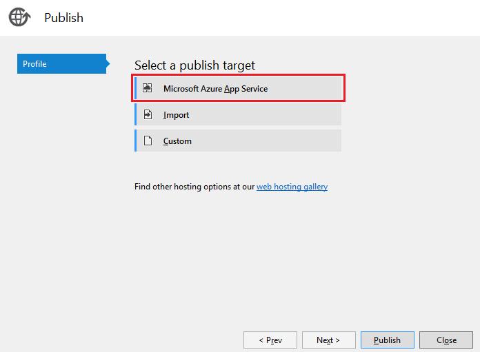 Deploy an ASP NET Core web app to Azure using Visual Studio