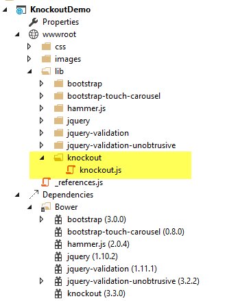 Knockout js MVVM Framework — ASP NET documentation